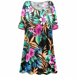 SOLD OUT! SALE! Customizable Black With Tropical Flowers Slinky Print Plus Size & Supersize Short or Long Sleeve Shirts - Tunics - Tank Tops - Sizes Lg XL 1x 2x 3x 4x 5x 6x 7x 8x 9x