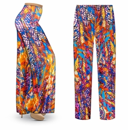 SOLD OUT! SALE! Customizable Color Infusion Slinky Print Plus Size & Supersize Palazzo Pants - Tapered Pants - Sizes Lg XL 1x 2x 3x 4x 5x 6x 7x 8x 9x