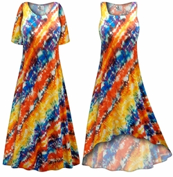 SALE! Customizable Blue and Orange Abstract Slinky Print Plus Size & Supersize Short or Long Sleeve Dresses & Tanks - Sizes Lg XL 1x 2x 3x 4x 5x 6x 7x 8x 9x