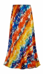 SALE! Customizable Blue and Orange Abstract Slinky Print Plus Size & Supersize Skirts - Sizes Lg XL 1x 2x 3x 4x 5x 6x 7x 8x 9x