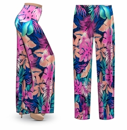 SALE! Customizable Pink & Green Tropical Foliage Slinky Print Plus Size & Supersize Palazzo Pants - Tapered Pants - Sizes Lg XL 1x 2x 3x 4x 5x 6x 7x 8x 9x