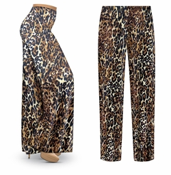 SALE! Customizable Black & Brown Animal Slinky Print Plus Size & Supersize Palazzo Pants - Tapered Pants - Sizes Lg XL 1x 2x 3x 4x 5x 6x 7x 8x 9x