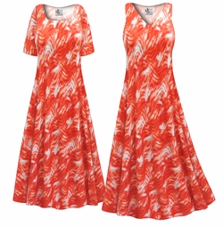 SALE! Customizable Orange Wavy Abstract Slinky Print Plus Size & Supersize Short or Long Sleeve Dresses & Tanks - Sizes Lg XL 1x 2x 3x 4x 5x 6x 7x 8x 9x
