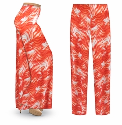 SALE! Customizable Orange Wavy Abstract Slinky Print Plus Size & Supersize Palazzo Pants - Tapered Pants - Sizes Lg XL 1x 2x 3x 4x 5x 6x 7x 8x 9x