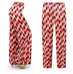 SALE! Customizable Magenta Orange Abstract Slinky Print Plus Size & Supersize Palazzo Pants - Tapered Pants - Sizes Lg XL 1x 2x 3x 4x 5x 6x 7x 8x 9x