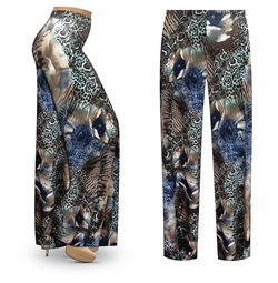 SALE! Customizable Animal Medley Slinky Print Plus Size & Supersize Palazzo Pants - Tapered Pants - Sizes Lg XL 1x 2x 3x 4x 5x 6x 7x 8x 9x
