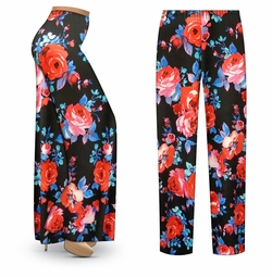 SALE! Customizable Black Floral Slinky Print Plus Size & Supersize Palazzo Pants - Tapered Pants - Sizes Lg XL 1x 2x 3x 4x 5x 6x 7x 8x 9x
