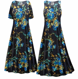 SALE! Customizable Navy Floral Slinky Print Plus Size & Supersize Short or Long Sleeve Dresses & Tanks - Sizes Lg XL 1x 2x 3x 4x 5x 6x 7x 8x 9x