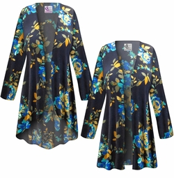 SALE! Customizable Navy Floral Slinky Print Plus Size & Supersize Jackets & Dusters - Sizes Lg XL 1x 2x 3x 4x 5x 6x 7x 8x 9x