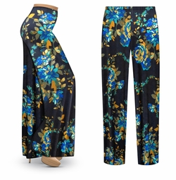 SALE! Customizable Navy Floral Slinky Print Plus Size & Supersize Palazzo Pants - Tapered Pants - Sizes Lg XL 1x 2x 3x 4x 5x 6x 7x 8x 9x
