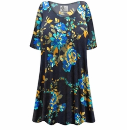 SALE! Customizable Navy Floral Slinky Print Plus Size & Supersize Short or Long Sleeve Shirts - Tunics - Tank Tops - Sizes Lg XL 1x 2x 3x 4x 5x 6x 7x 8x 9x