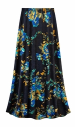 SALE! Customizable Navy Floral Slinky Print Plus Size & Supersize Skirts - Sizes Lg XL 1x 2x 3x 4x 5x 6x 7x 8x 9x