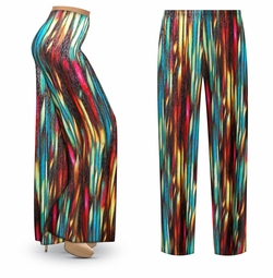 SALE! Customizable Stream Slinky Print Plus Size & Supersize Palazzo Pants - Tapered Pants - Sizes Lg XL 1x 2x 3x 4x 5x 6x 7x 8x 9x