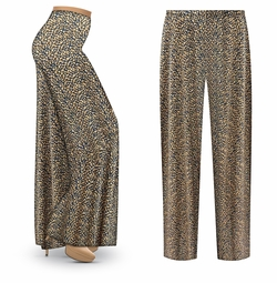 SOLD OUT! SALE! Customizable Navy & Tan Dots Abstract Slinky Print Plus Size & Supersize Palazzo Pants - Tapered Pants - Sizes Lg XL 1x 2x 3x 4x 5x 6x 7x 8x 9x
