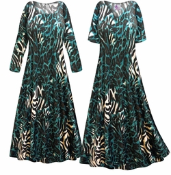 SALE! Customizable Black & Teal Animal Slinky Print Plus Size & Supersize Short or Long Sleeve Dresses & Tanks - Sizes Lg XL 1x 2x 3x 4x 5x 6x 7x 8x 9x