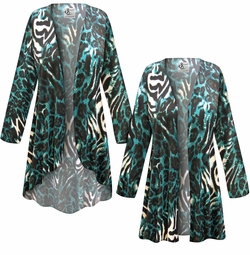 SALE! Customizable Black & Teal Animal Slinky Print Plus Size & Supersize Jackets & Dusters - Sizes Lg XL 1x 2x 3x 4x 5x 6x 7x 8x 9x