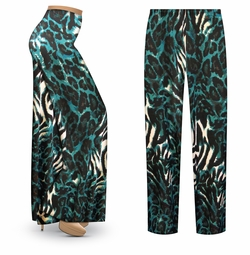 SALE! Customizable Black & Teal Animal Slinky Print Plus Size & Supersize Palazzo Pants - Tapered Pants - Sizes Lg XL 1x 2x 3x 4x 5x 6x 7x 8x 9x