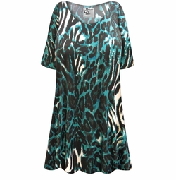 SALE! Customizable Black & Teal Animal Slinky Print Plus Size & Supersize Short or Long Sleeve Shirts - Tunics - Tank Tops - Sizes Lg XL 1x 2x 3x 4x 5x 6x 7x 8x 9x