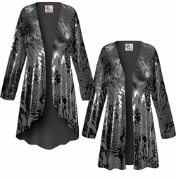SALE! Customizable Black On Black Animal Slinky Print Plus Size & Supersize Jackets & Dusters - Sizes Lg XL 1x 2x 3x 4x 5x 6x 7x 8x 9x