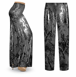 SALE! Customizable Black On Black Animal Slinky Print Plus Size & Supersize Palazzo Pants - Tapered Pants - Sizes Lg XL 1x 2x 3x 4x 5x 6x 7x 8x 9x