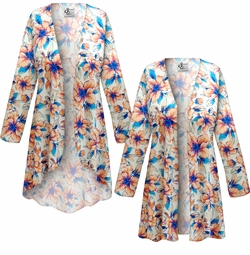 SALE! Customizable Plus Size Blue & Orange Floral Slinky Print Jackets & Dusters - Sizes Lg XL 1x 2x 3x 4x 5x 6x 7x 8x 9x
