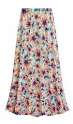 SALE! Customizable Plus Size Blue & Orange Floral Slinky Print Skirts - Sizes Lg XL 1x 2x 3x 4x 5x 6x 7x 8x 9x