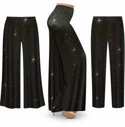 SOLD OUT! SALE! Customizable Black & Glitter Slinky Plus Size & Supersize Palazzo Pants - Tapered Pants - Sizes Lg XL 1x 2x 3x 4x 5x 6x 7x 8x 9x