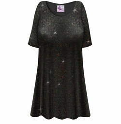 SALE! Customizable Plus Size Black & Glitter Slinky Short or Long Sleeve Shirts - Tunics - Tank Tops - Sizes Lg XL 1x 2x 3x 4x 5x 6x 7x 8x 9x