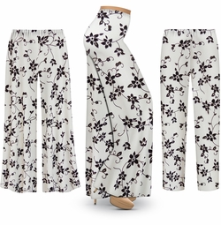 SALE! Customizable Embossed Black & Gold Floral Slinky Print Plus Size & Supersize Palazzo Pants - Tapered Pants - Sizes Lg XL 1x 2x 3x 4x 5x 6x 7x 8x 9x