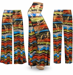 SALE! Customizable Metallic Abstract Lines Slinky Print Plus Size & Supersize Palazzo Pants - Tapered Pants - Sizes Lg XL 1x 2x 3x 4x 5x 6x 7x 8x 9x
