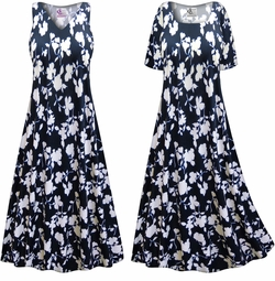 SALE! Customizable Plus Size Navy & White Floral Slinky Print Short or Long Sleeve Dresses & Tanks - Sizes Lg XL 1x 2x 3x 4x 5x 6x 7x 8x 9x