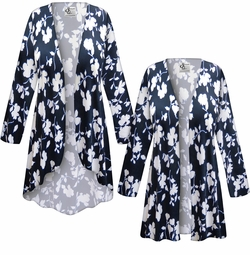 SALE! Customizable Plus Size Navy & White Floral Slinky Print Jackets & Dusters - Sizes Lg XL 1x 2x 3x 4x 5x 6x 7x 8x 9x