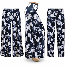 SALE! Customizable Navy & White Floral Slinky Print Plus Size & Supersize Palazzo Pants - Tapered Pants - Sizes Lg XL 1x 2x 3x 4x 5x 6x 7x 8x 9x