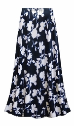 SALE! Customizable Plus Size Navy & White Floral Slinky Print Skirts - Sizes Lg XL 1x 2x 3x 4x 5x 6x 7x 8x 9x