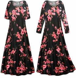SOLD OUT! SALE! Customizable Plus Size Plum Blossom Slinky Print Short or Long Sleeve Dresses & Tanks - Sizes Lg XL 1x 2x 3x 4x 5x 6x 7x 8x 9x