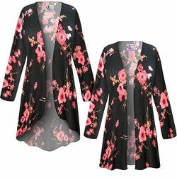SOLD OUT! SALE! Customizable Plus Size Plum Blossom Slinky Print Jackets & Dusters - Sizes Lg XL 1x 2x 3x 4x 5x 6x 7x 8x 9x