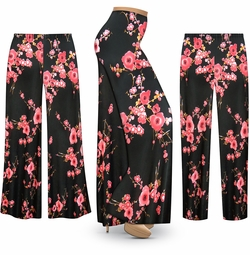 SOLD OUT! SALE! Customizable Plum Blossom Slinky Print Plus Size & Supersize Palazzo Pants - Tapered Pants - Sizes Lg XL 1x 2x 3x 4x 5x 6x 7x 8x 9x