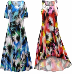 SALE! Customizable Plus Size Marvelous Slinky Print Short or Long Sleeve Dresses & Tanks - Sizes Lg XL 1x 2x 3x 4x 5x 6x 7x 8x 9x