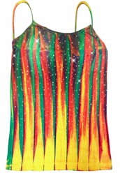 SALE! Sparkly Colorful Lines Tie Dye Spaghetti Strap Rhinestud Plus Size Tank Top 4x
