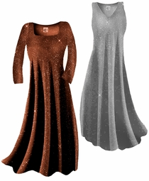 SOLD OUT! Sparkly Copper Gold Glitter or Silver Lame' Slinky Plus Size & Supersize Customizable Dresses Shirts & Jackets Lg to 9x