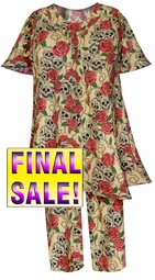 SOLD OUT! Beige & Rose Skulls Print 2-Piece Pants Set Plus Size & Supersize Top & Pant Mock Denim Lounge Set 1x