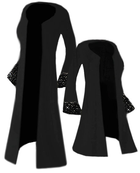 c163c070e24 SALE! Starry Night Solid Black Ruffly Bell Sleeves with Sparkly Silver  Rhinestuds Slinky Plus Size Jacket or Duster Lg XL 1x 2x 3x 4x 5x 6x 7x 8x  9x