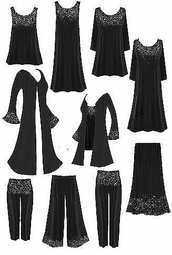 <font size=3 color=green>Starry Nights....<br><font size=2 color=blue>Tops, Dresses,  Jackets,  Dusters, Skirts, Pants<br><font size =1 color=purple>Lg to 8x Plus Size & Supersize