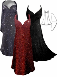 CLEARANCE! 2-Piece Stunning Black Glimmer, Dark Gray Sheer Sequins Plus Size SuperSize Princess Seam Dress Set 2x