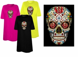 SOLD OUT! SALE! Sugar Skull With Cross Day Of The Dead Plus Size & Supersize T-Shirts 4x