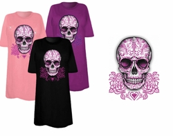 SALE! Sugar Skull With Pink Roses Plus Size & Supersize T-Shirts 2x