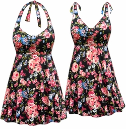 SOLD OUT! NEW! Customizable Plus Size Pink Roses Print Halter or Shoulder Strap 2pc Swimsuit/SwimDress 0x 1x 2x 3x 4x 5x 6x 7x 8x 9x