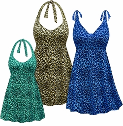 SALE! Customizable Plus Size Cream, Blue or Green Leopard Print Halter or Shoulder Strap 2pc Swimsuit/SwimDress 0x 1x 2x 3x 4x 5x 6x 7x 8x 9x