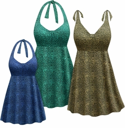 NEW! Customizable Plus Size Brown Blue or Green Animal Print Halter or Shoulder Strap 2pc Swimsuit/SwimDress 0x 1x 2x 3x 4x 5x 6x 7x 8x 9x