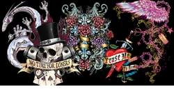 "<font size=""3"" color=""purple""><b><center>Tattoo & Gothic Prints!<br></b><font size=""1"" color=""red""> <br></font>"